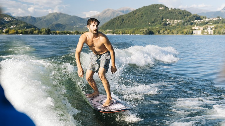 Sport and leisure, Wakeboarding on Lake Lugano
