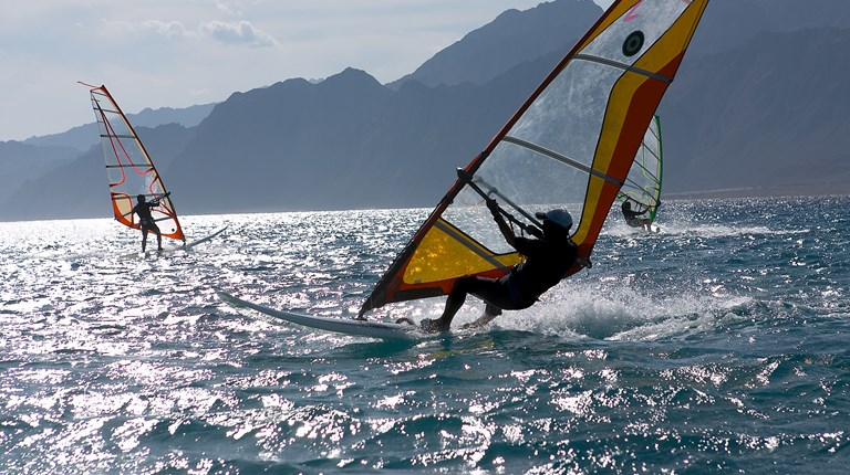 Sport and leisure, Windsurfing on Lake Lugano