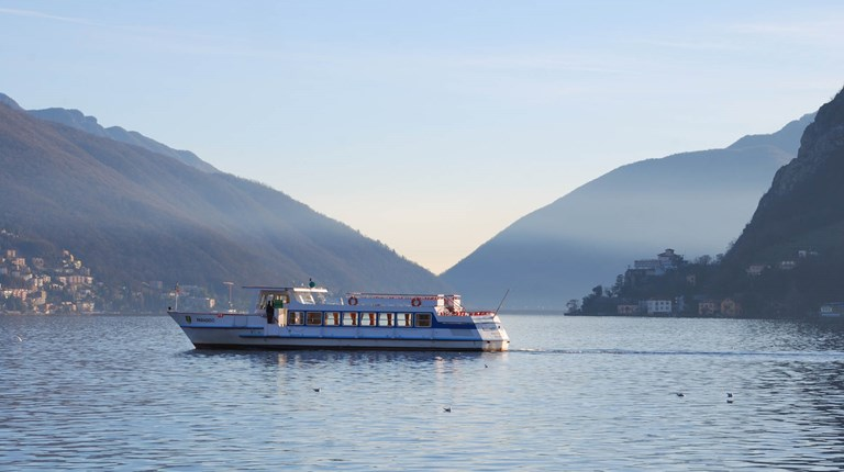 Lake and nature, Boat on Lugano Lake