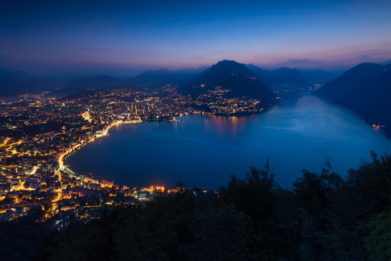City center and lakefront, View of Lugano from Monte San Salvatore by night